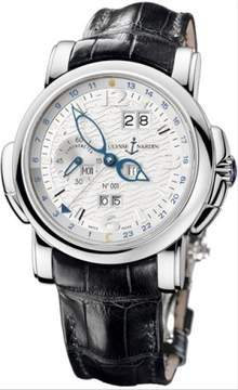 Ulysse Nardin GMT Perpetual Silver Dial 18kt White Gold Black Leather Men's Watch 320-60-60