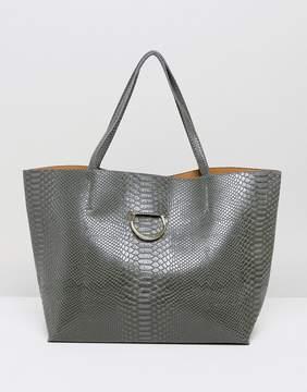 Glamorous Ring Detail Moc Croc Tote Bag