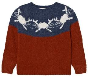 Bobo Choses Rust and Blue Crabs Yoke Knitted Jumper