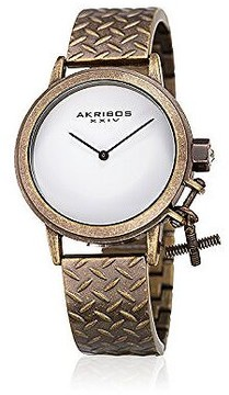 Akribos XXIV White Dial Ladies Brown Tone Watch