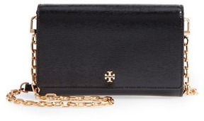 Tory Burch Women's Robinson Patent Leather Wallet On A Chain - Black