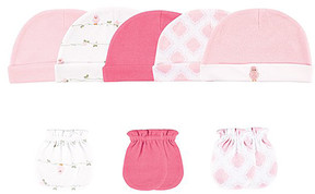 Luvable Friends Pink & White Bird Beanie & Mitten Set - Newborn