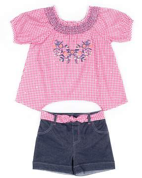 Little Lass Baby Girl Checker Shirt & Denim Short Set