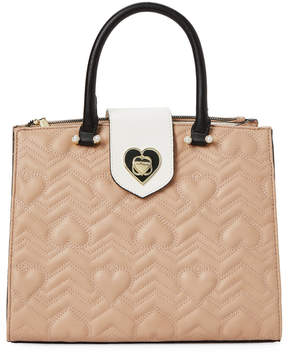 Betsey Johnson Tan & Black Quilted Heart Satchel