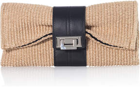 Joanna Maxham Natural Raffia & Leather Nite Cap Clutch
