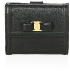 Salvatore Ferragamo Gancino Clip French Continental Leather Vara Bow Wallet