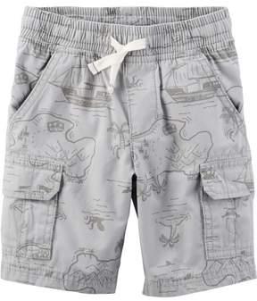 Carter's Little Boys Map Print Poplin Pull-On Cargo Shorts