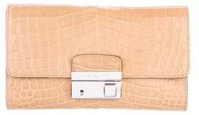 Michael Kors Embossed Leather Gia Clutch w/ Tags - BROWN - STYLE