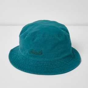 River Island Mens Blue 'Hustle' bucket hat