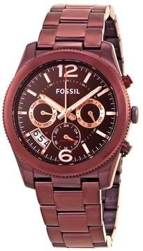 Fossil Perfect Boyfriend Wine Dial Ladies GMT Multifunction Watch