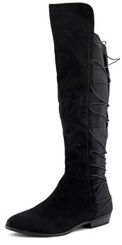 Material Girl Cayln Women Round Toe Synthetic Black Over The Knee Boot.