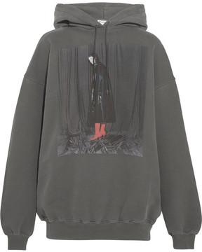 Balenciaga Printed Cotton-jersey Hooded Sweatshirt - Dark gray