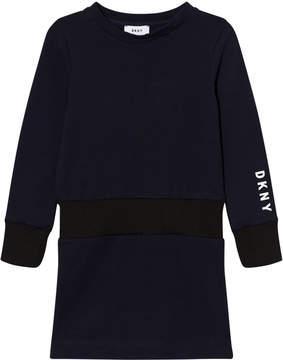 DKNY Navy Branded Sweat Dress
