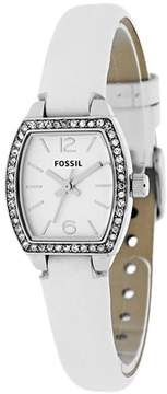 Fossil BQ1211 Women's Classic White Leather Watch with Crystal Accents