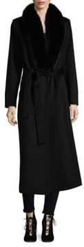 Fleurette Fox Fur Collar Wool Coat
