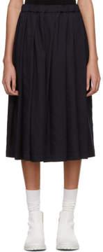 Comme des Garcons Navy Crinkle Skirt