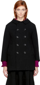 Comme des Garcons Black Double-Breasted Coat