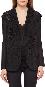 Akris Laser-Cut Knit-Back Jacket