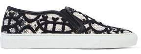 Emilio Pucci Embroidered Mesh Slip-On Sneakers