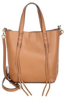 Rebecca Minkoff Whip Stitched Mini-Leather Tote - ALMOND - STYLE