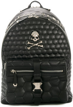Philipp Plein quilted skull backpack