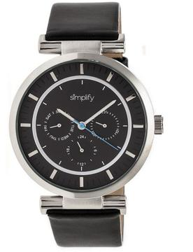 Simplify The 4800 SIM4804 Silver and Black Leather Analog Watch