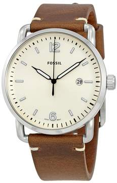 Fossil The Commuter Silver Dial Men's Leather Watch