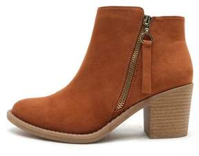 Qupid Cognac Ankle Booties