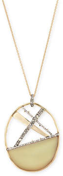 Alexis Bittar Crystal Encrusted Plaid Long Pendant Necklace