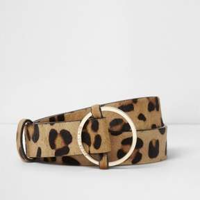 River Island Womens Brown leather leopard faux pony hair belt