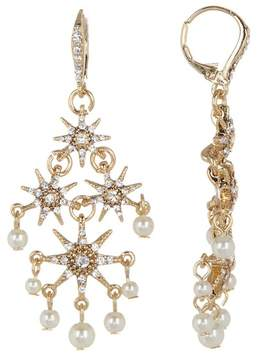 Jenny Packham Glass Crystal Embellished Star with Imitation Pearl Chandelier Earrings