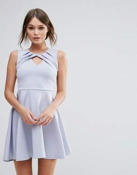 Club L Pleated Skater Dress With Twist Detail