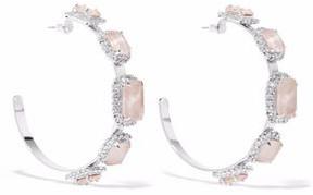 Elizabeth Cole Silver-Tone Swarovski Crystal And Stone Hoop Earrings