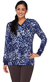 Denim & Co. Active Waffle Knit Printed Top withHood