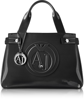 Armani Jeans Medium Black Faux Patent Leather Tote