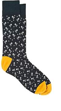 Corgi Men's Skull-Knit Cotton-Blend Mid-Calf Socks
