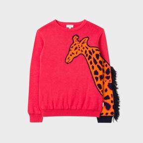 Paul Smith Girls' 7+ Years Coral Cotton-Blend Giraffe-Sleeve Sweater