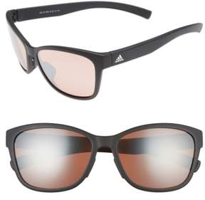Women's Adidas Excalate 58Mm Mirrored Sunglasses - Black Matte/ Taupe