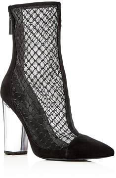 KENDALL + KYLIE Women's Haven Embroidered Mesh & Suede High Block Heel Booties - 100% Exclusive