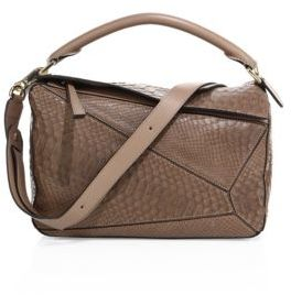 LOEWE Puzzle Small Python Shoulder Bag