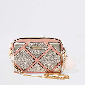 River Island Pink cutabout metallic boxy cross body bag