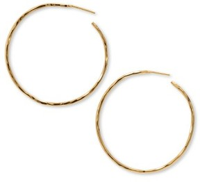 Argentovivo Women's Hammered Large Hoop Earrings