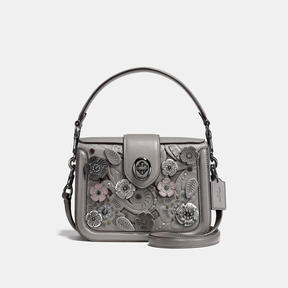 COACH Coach Page Crossbody With Tea Rose Tooling - DARK GUNMETAL/HEATHER GREY - STYLE