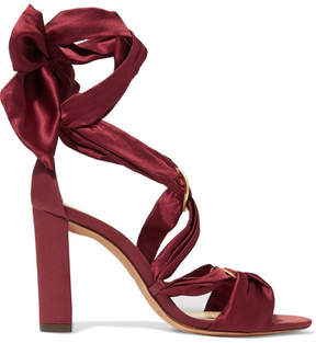 Alexandre Birman Alessa Lace-up Satin Sandals - Claret