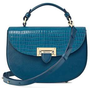Aspinal of London Letterbox Saddle Bag In Deep Shine Topaz Small Croc