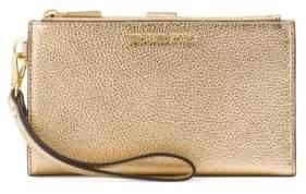 MICHAEL Michael Kors Wristlets 7plus Leather Phone Case - PALE GOLD - STYLE