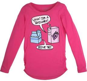 Hanes Girls' Shirred Graphic Long Sleeve Tee