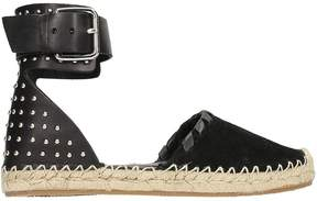 RED Valentino Studs Black Leather And Suede Espadrillas