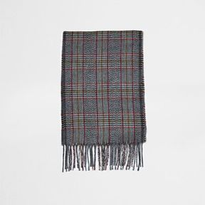 River Island Mens Grey Prince of Wales check scarf