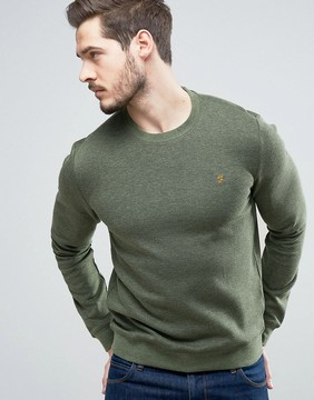 Farah Tiller Crew Sweat Slim Fit in Green Marl